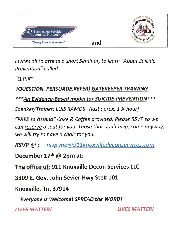Suicide Prevention Seminar Flyer