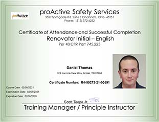 Certificate of Attendance and Successful Completion Renovator Initial